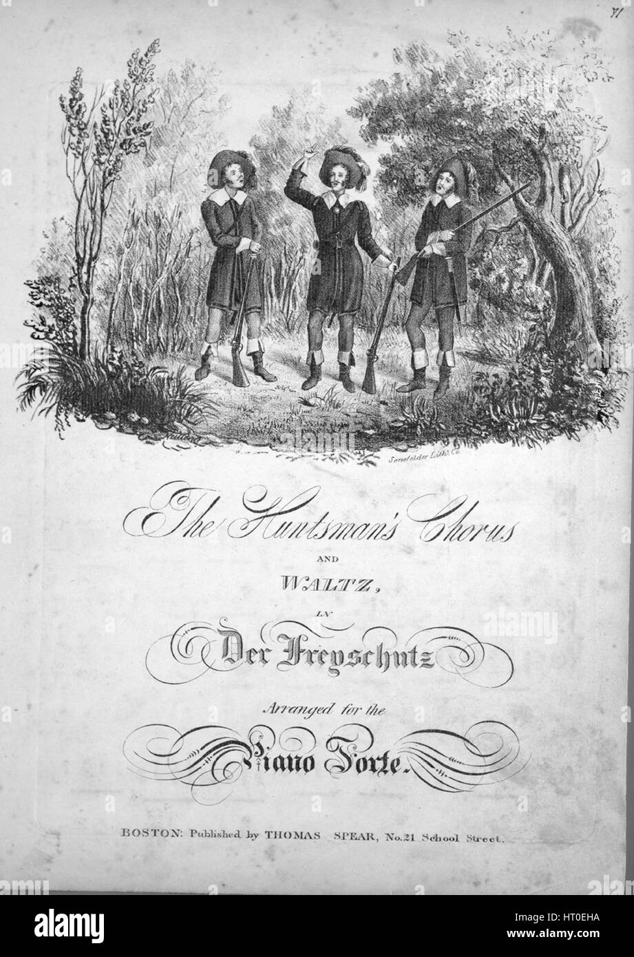Sheet music cover image of the song 'The Huntsman's Chorus and Waltz in Der Freyschutz', with original - Stock Image