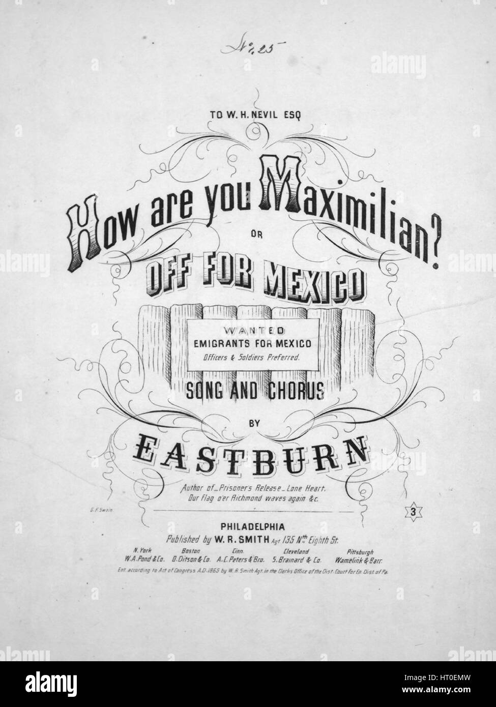 Sheet music cover image of the song 'How are you Maximilian? or Off For Mexico Song and Chorus', with original - Stock Image