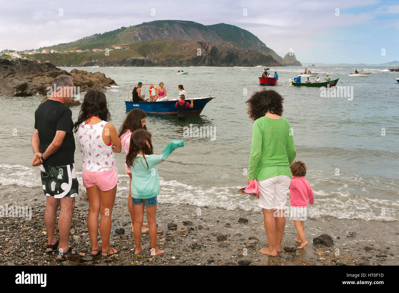 Festivity of the Virxe do Porto - people, Meiras - Valdoviño, La Coruña province, Region of Galicia, Spain, - Stock Image
