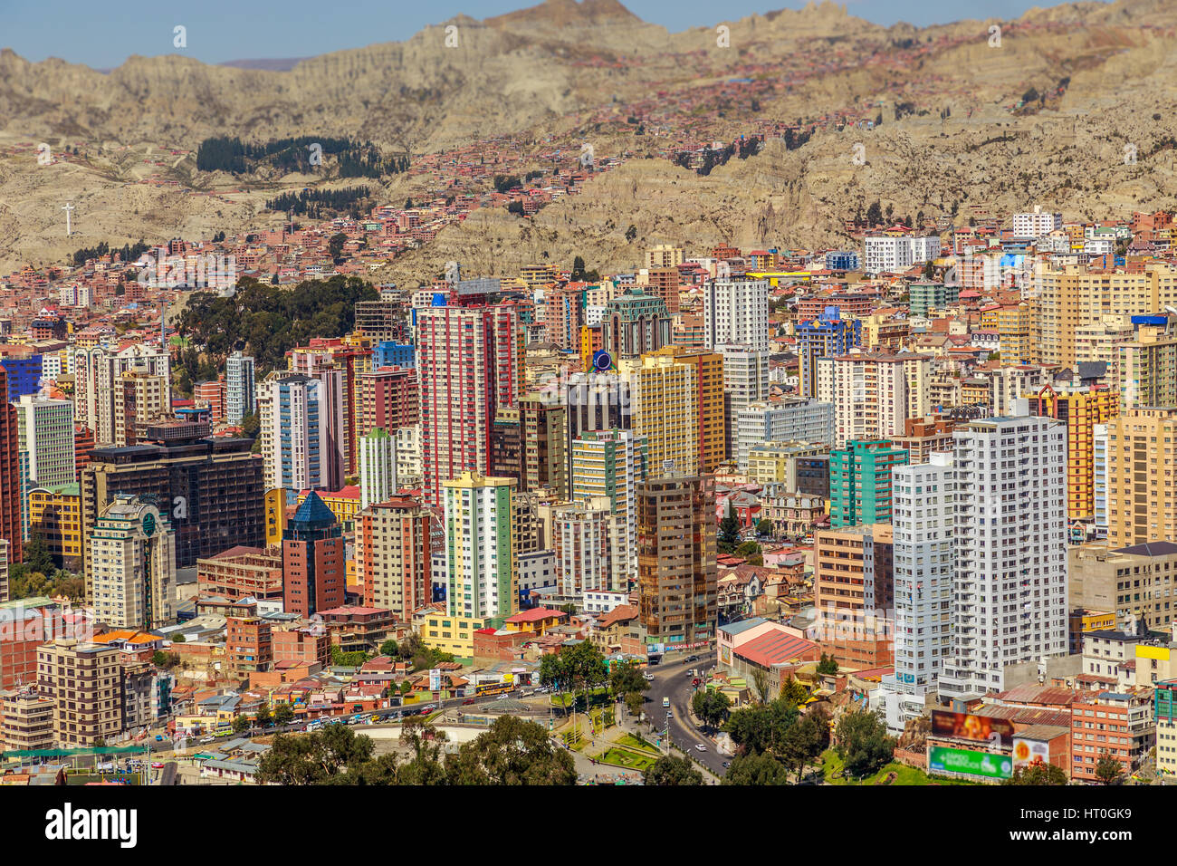 Central Bussiness district of La Paz megapolis, Bolivia, South America - Stock Image