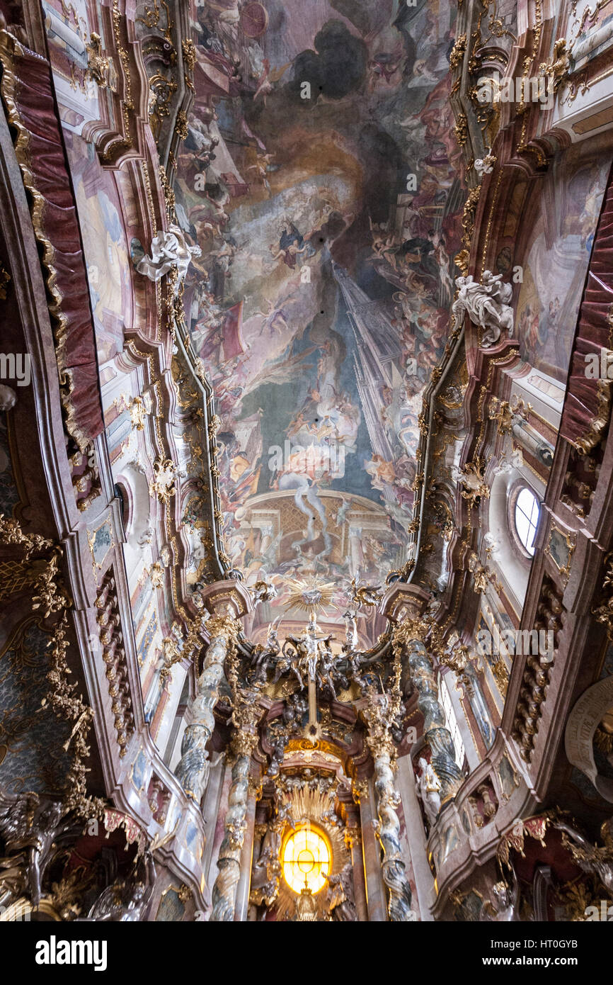 St. Johann Nepomuk, Asam Church a Baroque church in Munich, built by the brothers, sculptor Egid Quirin Asam, and - Stock Image