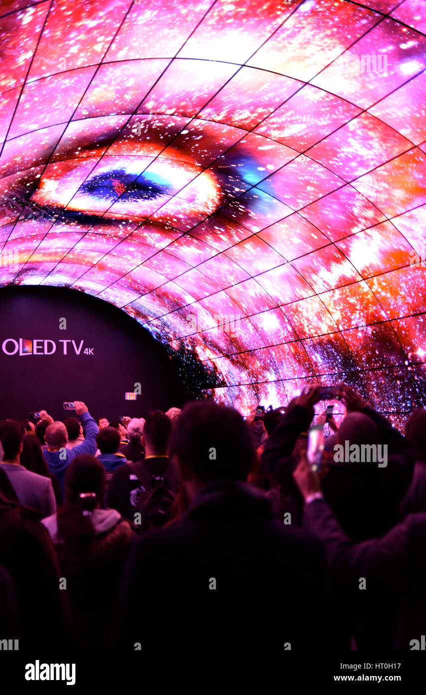 LG exhibiting the OLED TV with 4K resolution with a 3D video wall at