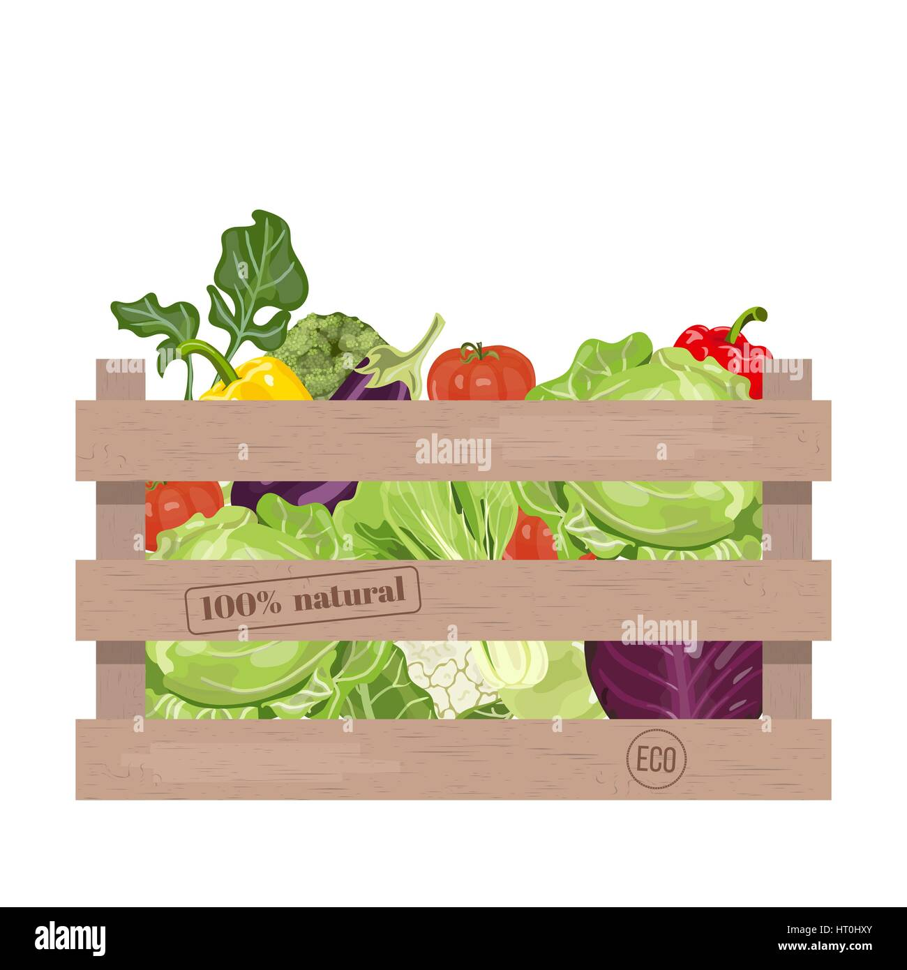 Wooden crate of farm fresh vegetables with cauliflower, tomatoes, broccoli, cabbage, eggplant and colorful sweet - Stock Vector