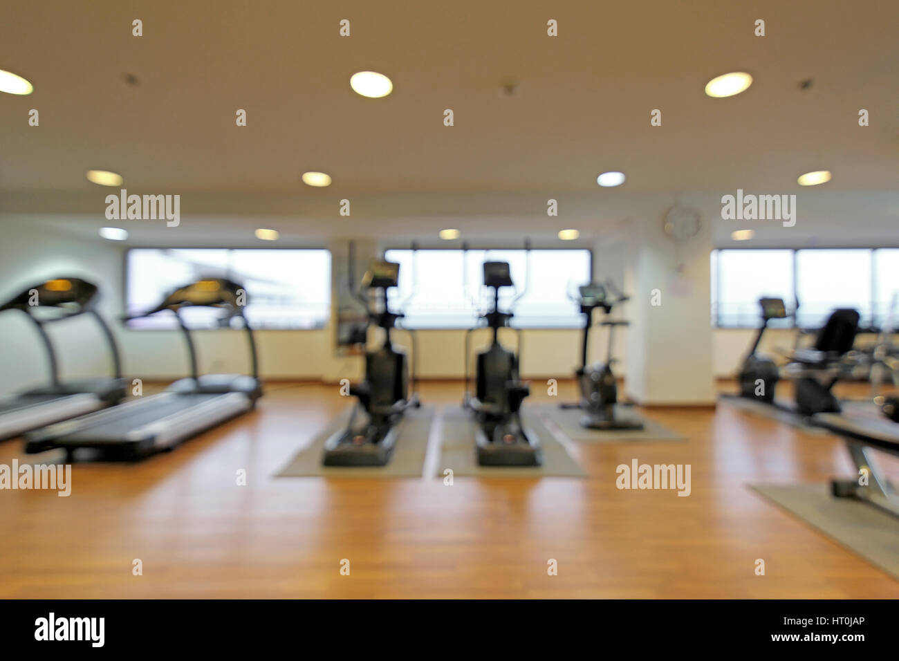 Abstract blur fitness room interior for background stock photo