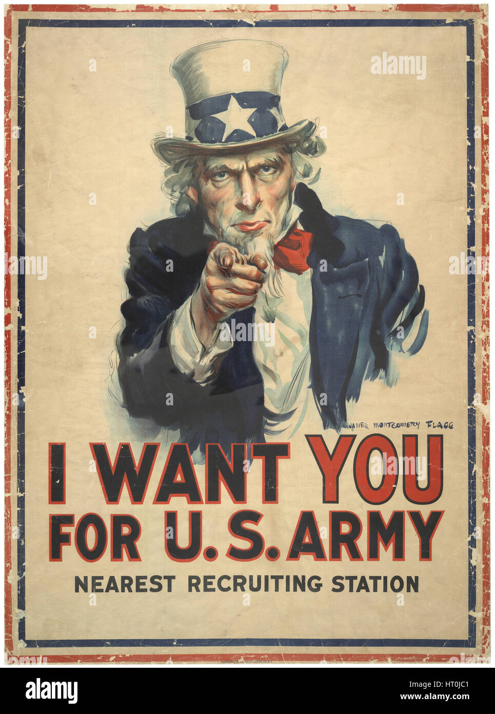 World War I recruiting poster for the the U.S. Army featuring Uncle Sam by artist James Montgomery Flag, c1917. - Stock Image