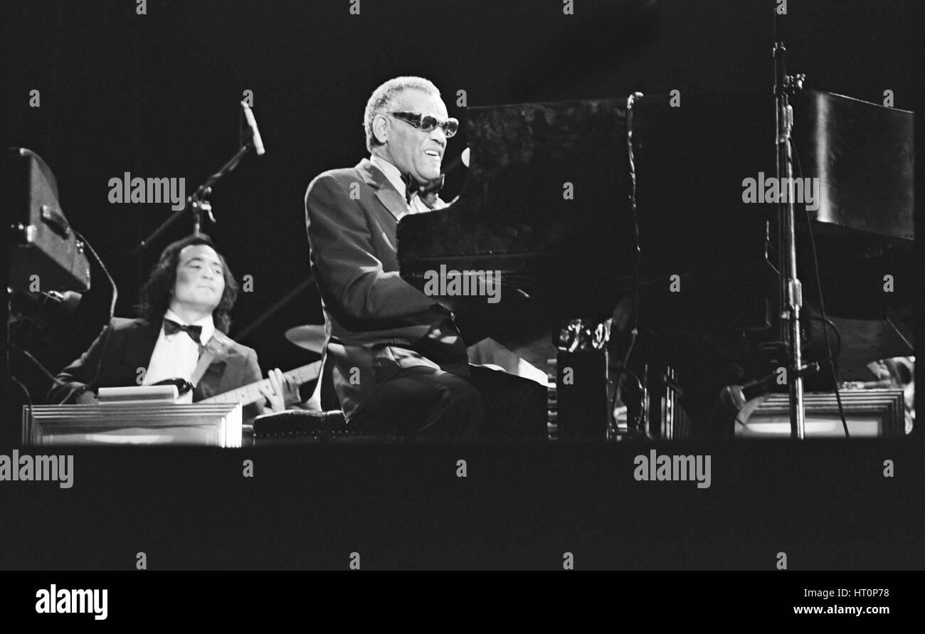 Ray Charles, Capital Jazz Festival, Knebworth, 1982.  Artist: Brian O'Connor. - Stock Image