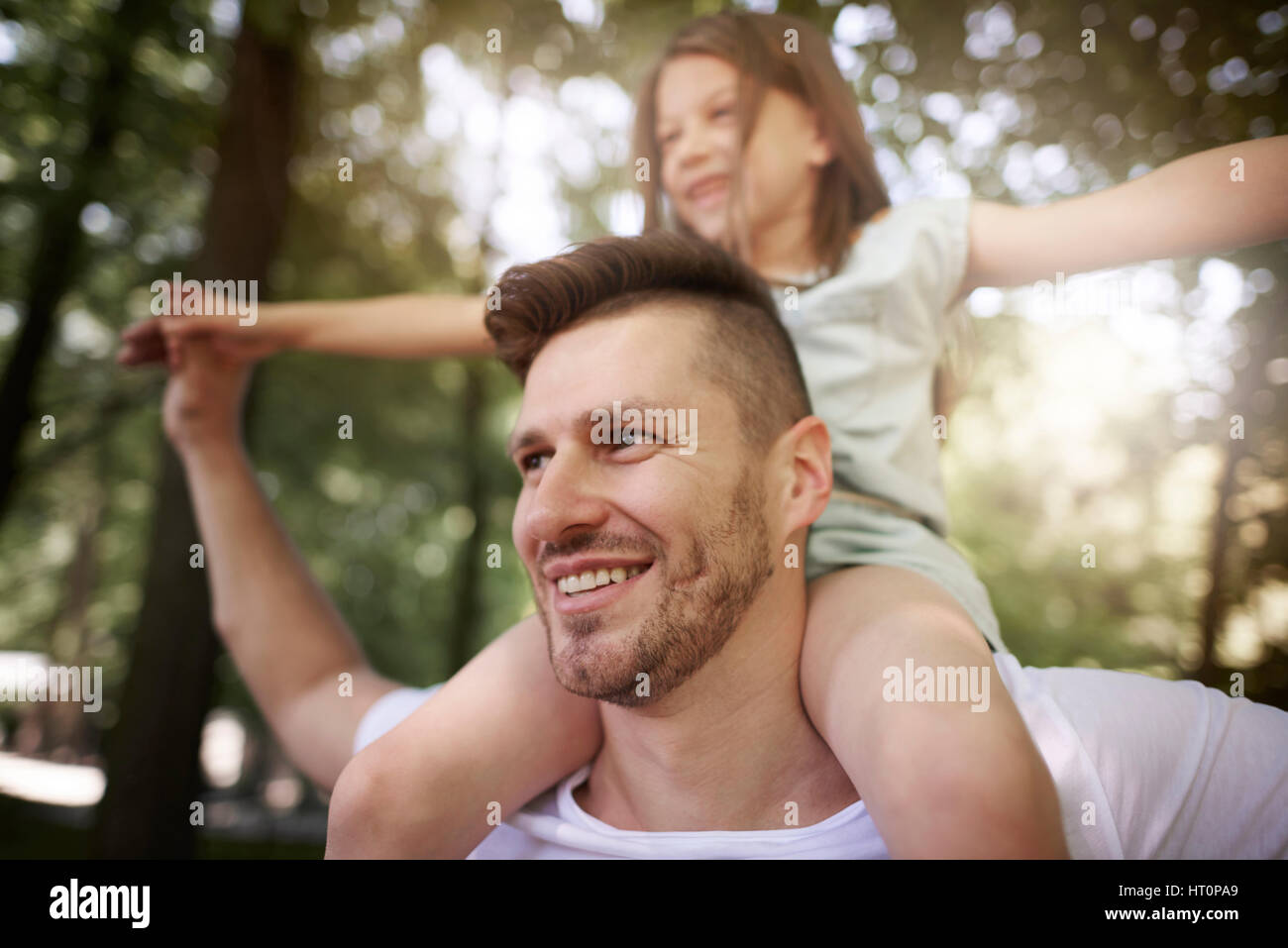 Spending some time with daddy - Stock Image
