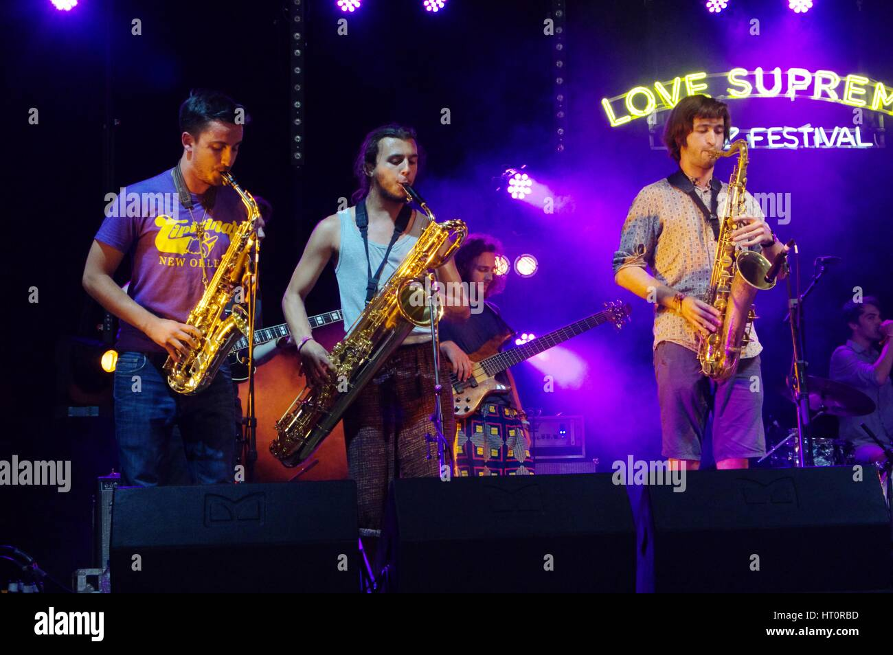 Mak Murtic, R Muscat and S Silas, Love Supreme Jazz Festival, Glynde Place, East Sussex, 2015. Artist: Brian O'Connor. - Stock Image