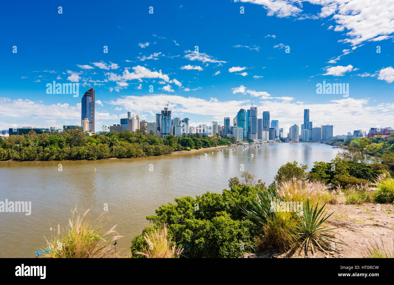 View of Brisbane city skyline and Brisbane river in daytime - Stock Image