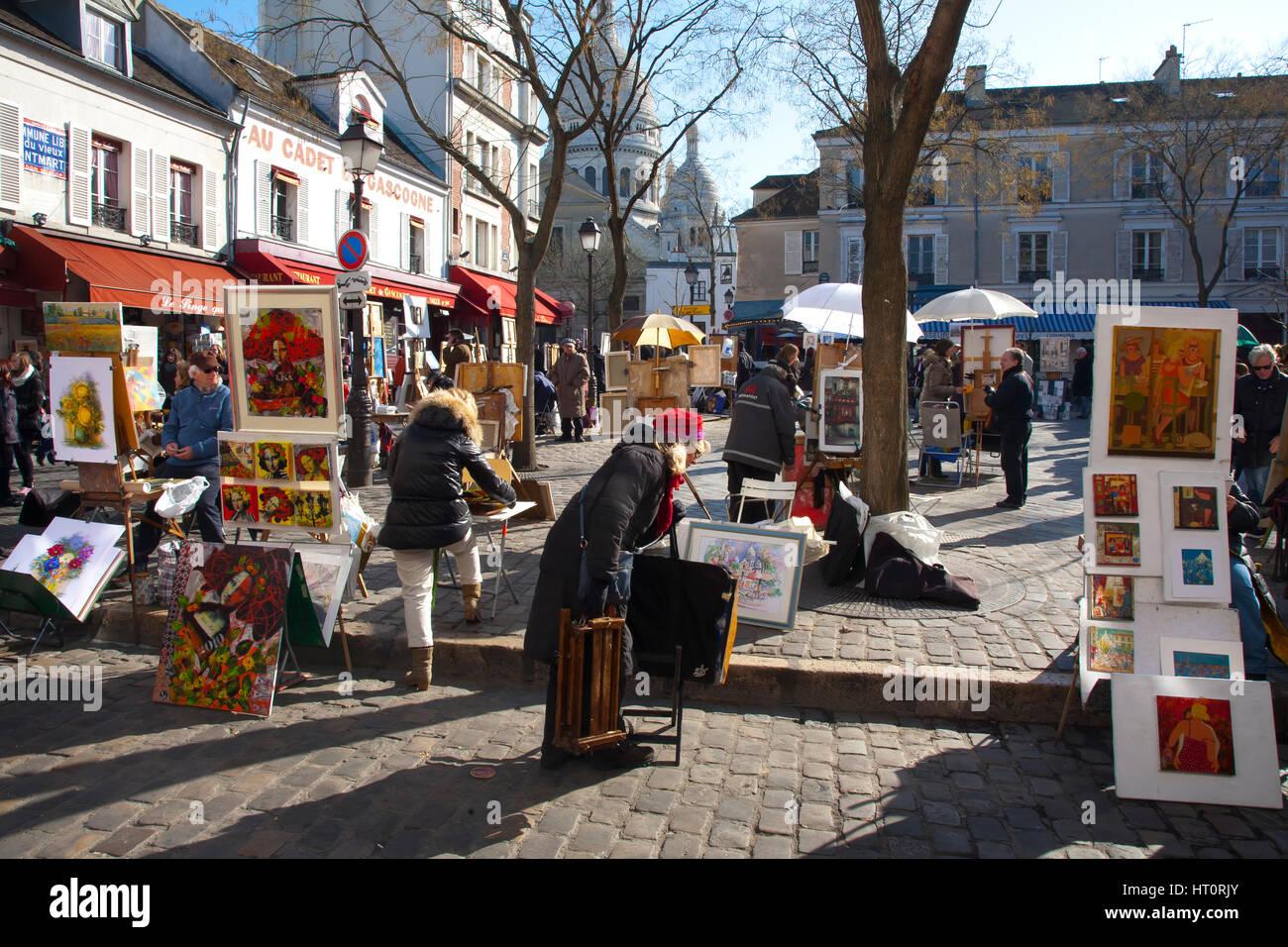 Place du Tertre and painters. Montmartre. Paris, France, Europe. - Stock Image