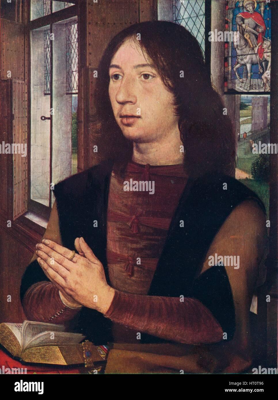 'Maarten van Nieuwenhove, from The Diptych of Maerten van Nieuwenhove', 1487. Artist: Hans Memling. - Stock Image