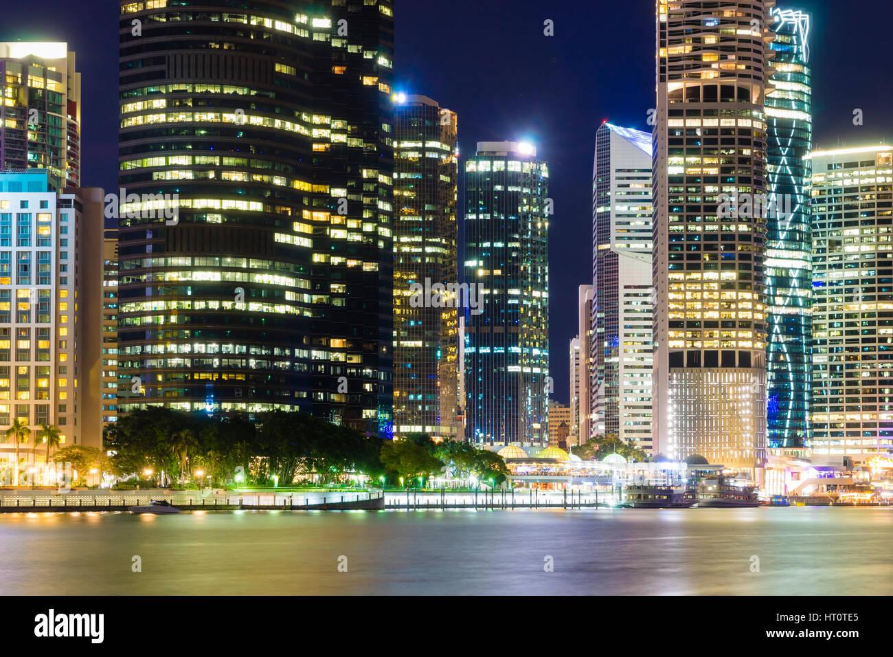 Close-up view of Brisbane city skyline at night - Stock Image