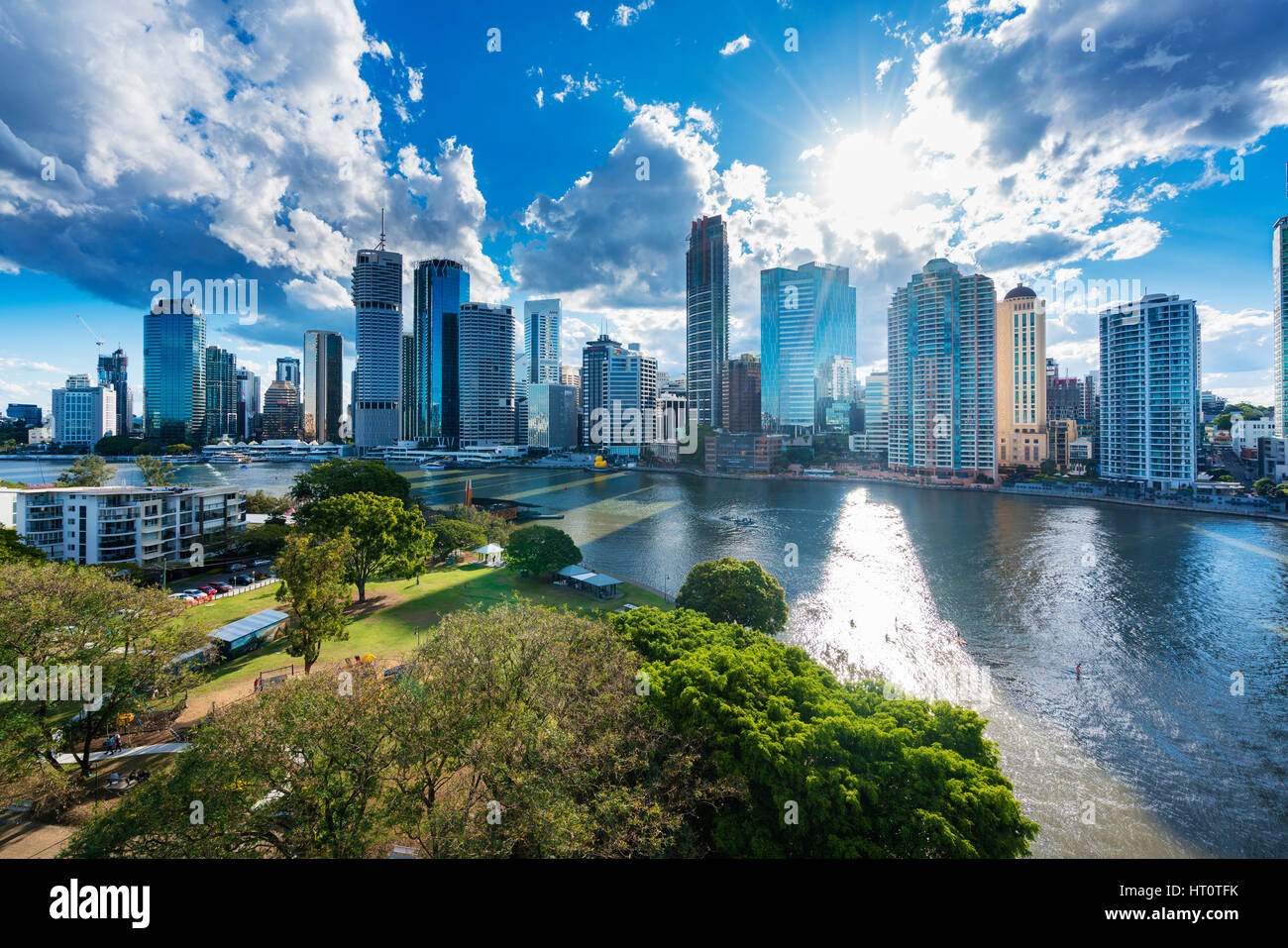 Brisbane, Australia - September 25, 2016: View of Brisbane city skyline and Brisbane river in late afternoon - Stock Image