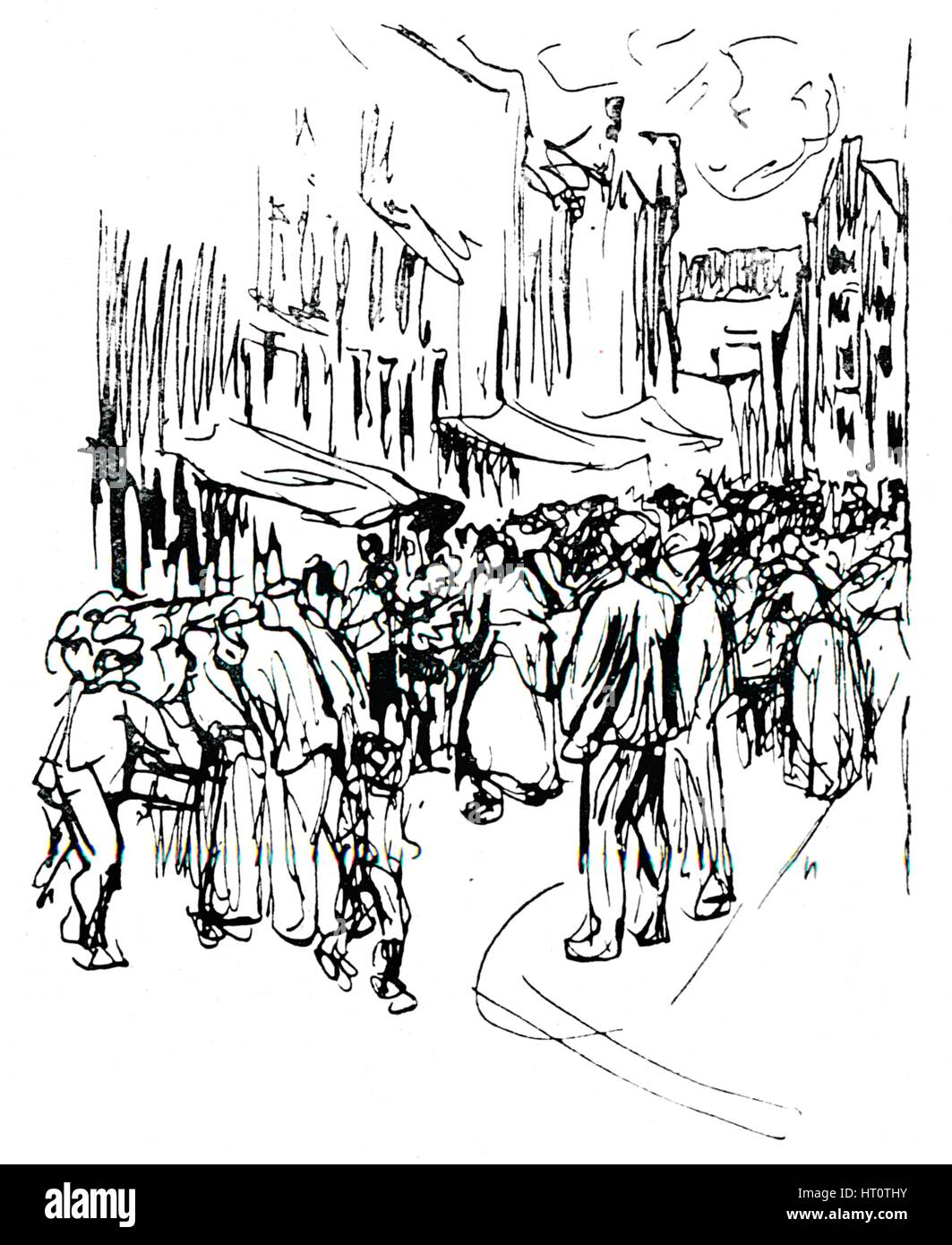 'Pen and ink study', c19th century. Artist: Max Liebermann. - Stock Image