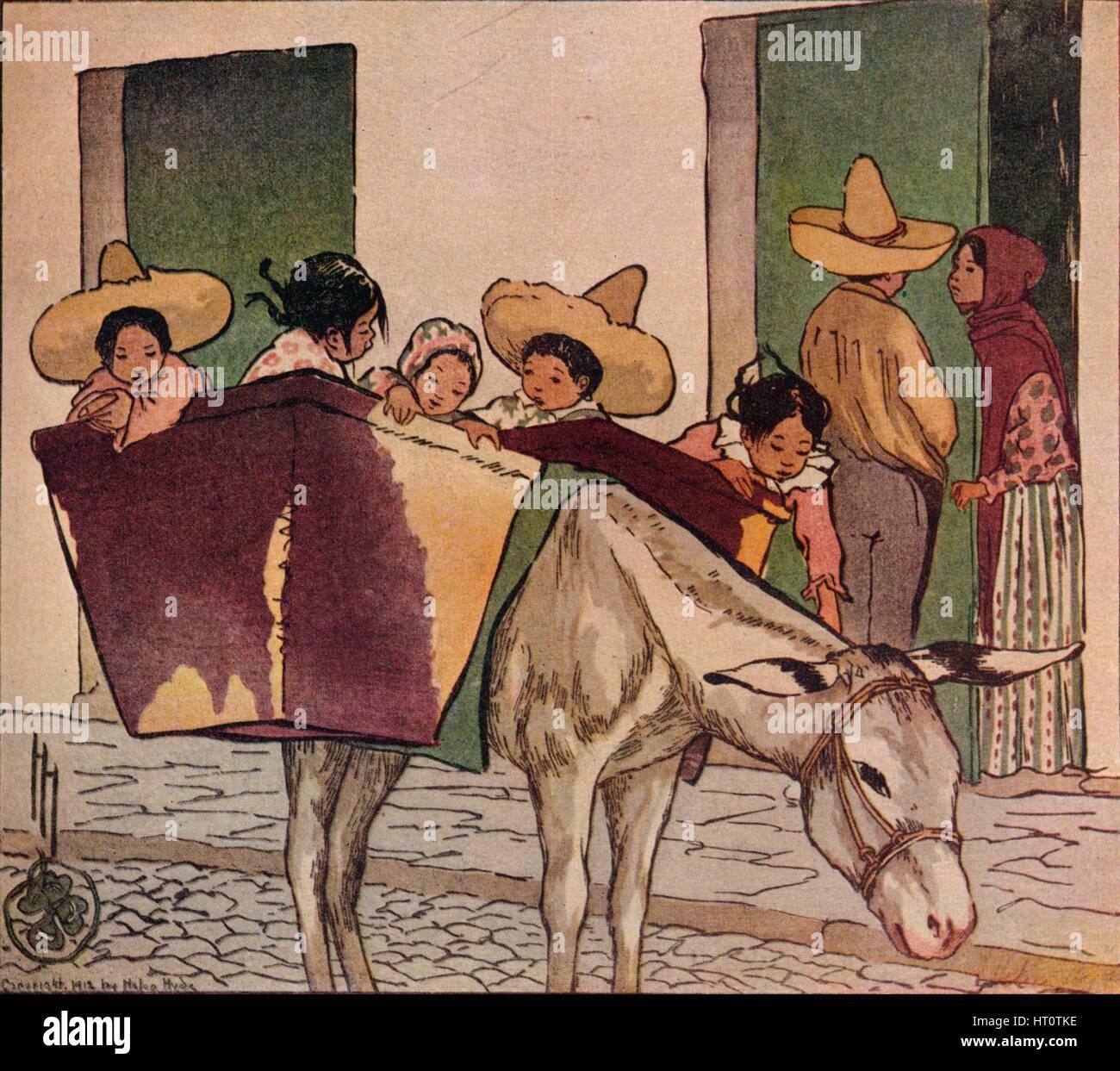 'An Interlude - The Breadman's Donkey', 1912. Artist: Helen Hyde. - Stock Image