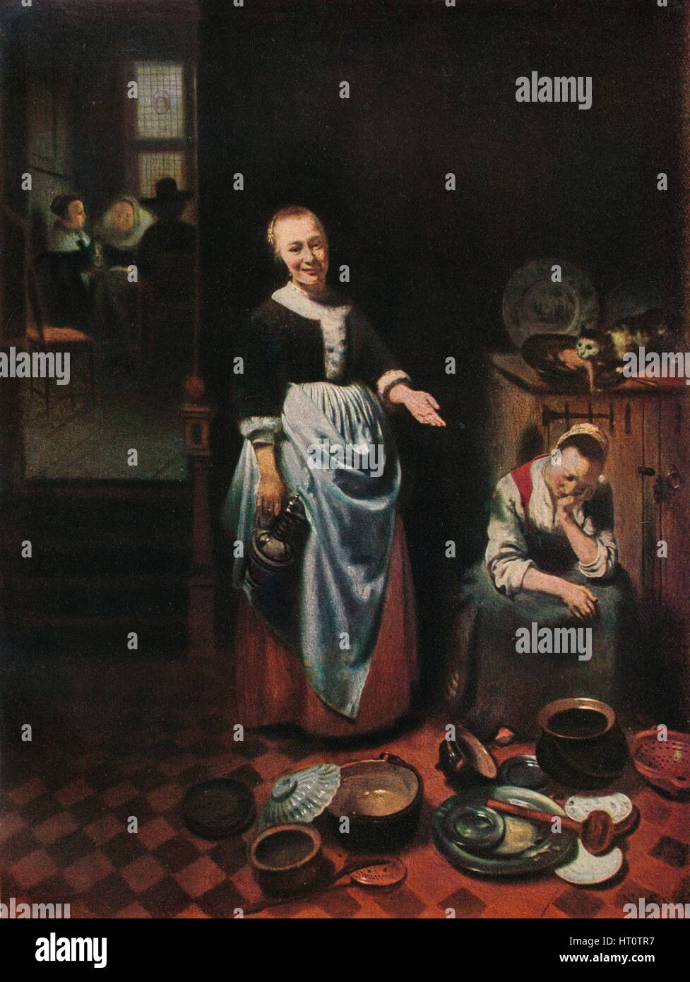 'The Idle Servant', 1655. Artist: Nicolaes Maes. - Stock Image