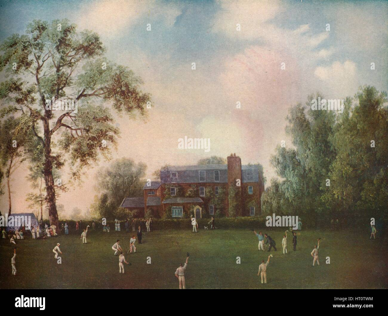 'Cricket at Gads Hill Place, Rochester', c1868. Artist: Unknown. - Stock Image