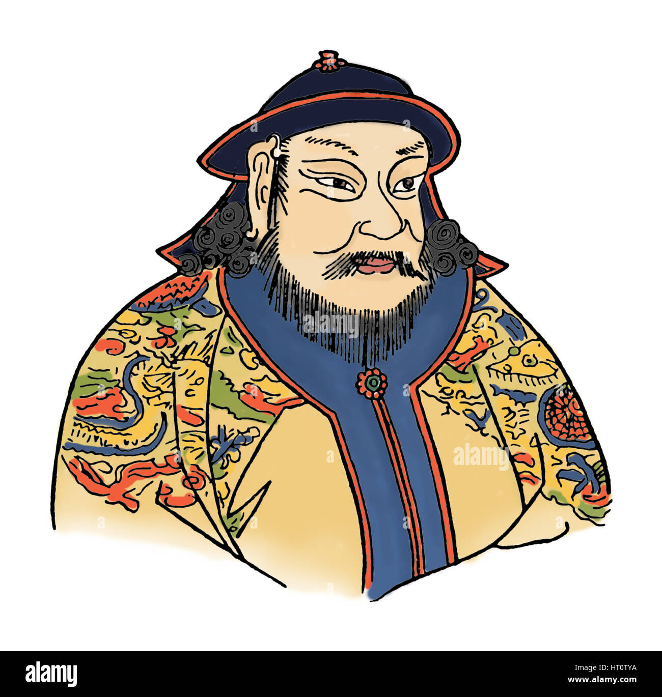 Kublai Khan (1215-1294) of the Mongol Empire and founder of the Yuan Dynasty, 1912. Artist: Unknown. - Stock Image