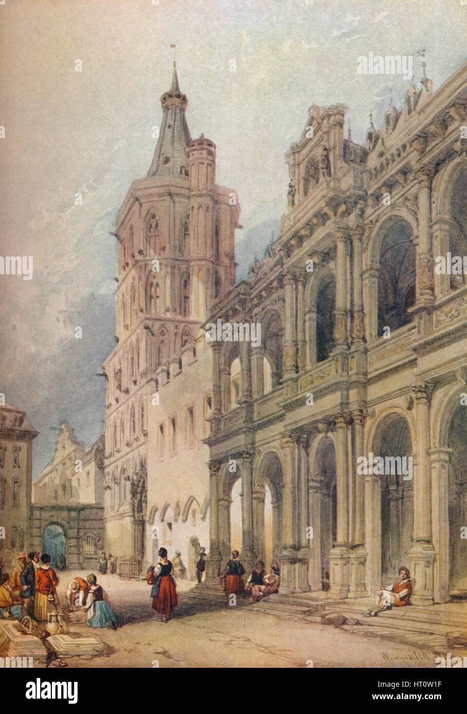 'Town Hall, Cologne', c1841. Artist: William Leighton Leitch. - Stock Image