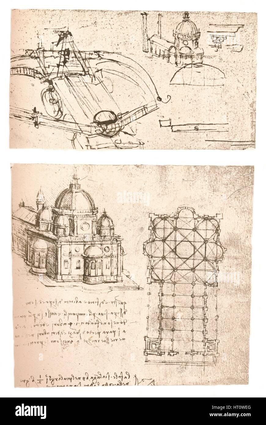 Two drawings of churches, c1472-c1519 (1883). Artist: Leonardo da Vinci. - Stock Image