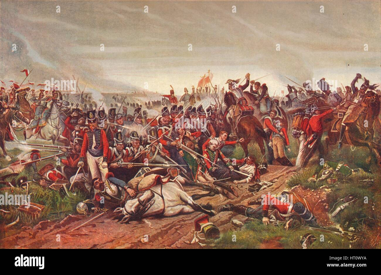 French cuirassiers charging a British infantry square at the Battle of Waterloo, 1815 (1906). Artist: P Jazet. - Stock Image