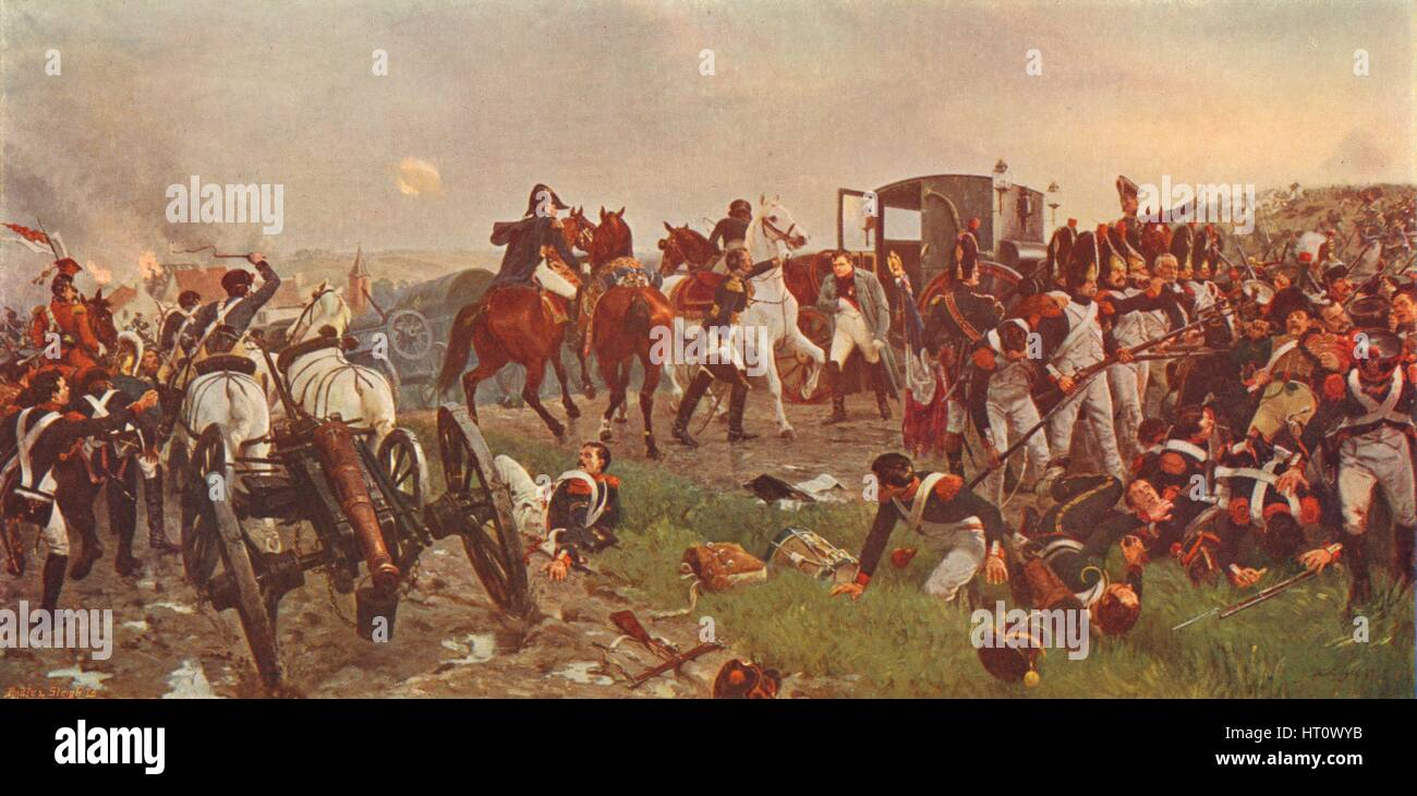 'On the Evening of the Battle of Waterloo', 1879 (1906).  Artist: Ernest Crofts. - Stock Image
