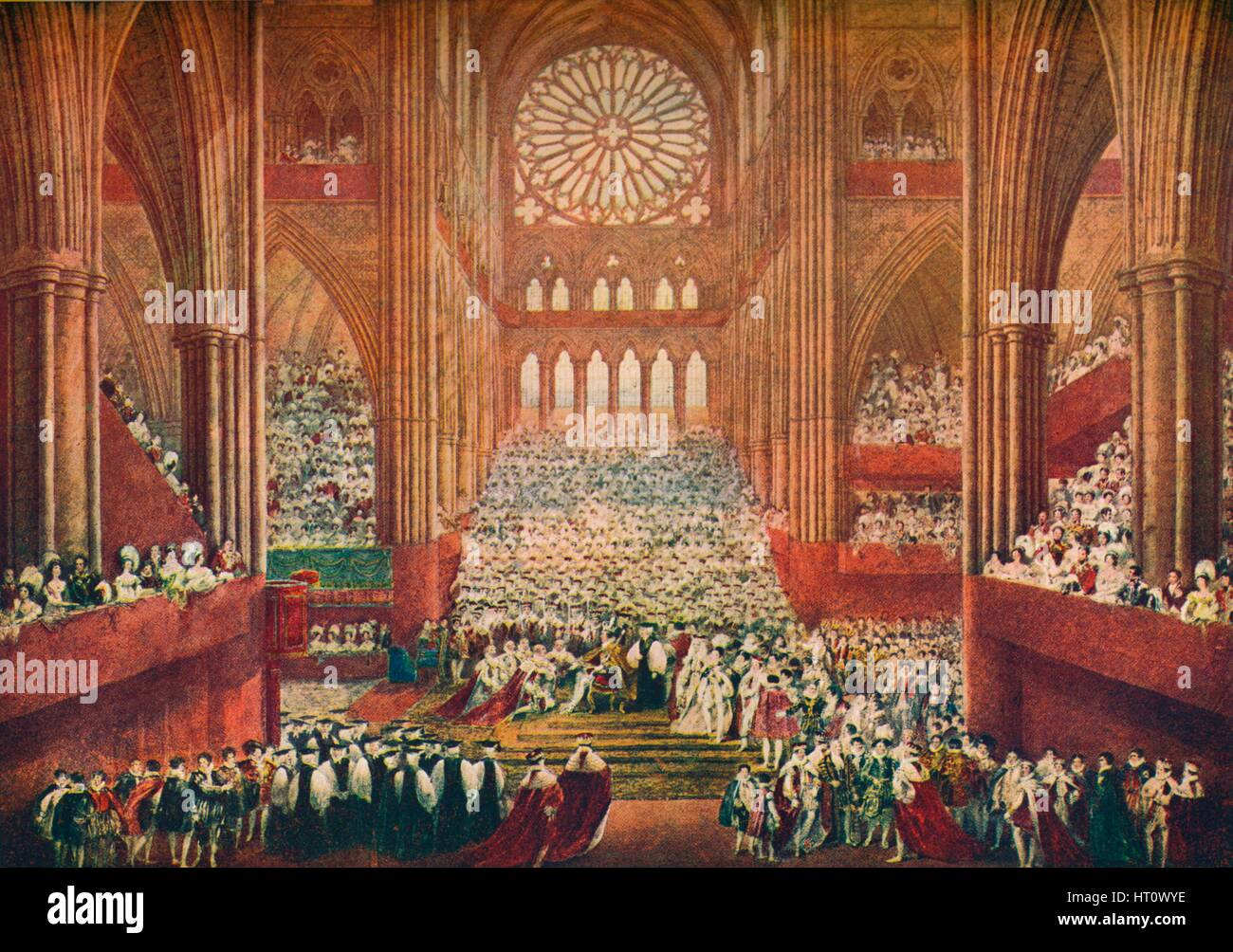 The Coronation of King George IV in Westminster Abbey, London, 1821 (1906).  Artist: Pugin & Stephanoff. - Stock Image