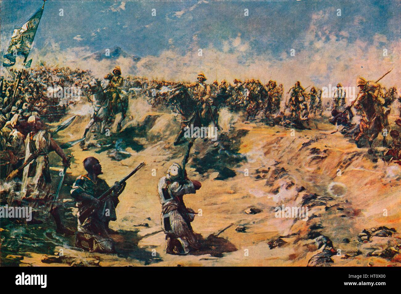 'The Charge of the 21st Lancers at Omdurman, 1898' (1906). Artist: Unknown. - Stock Image