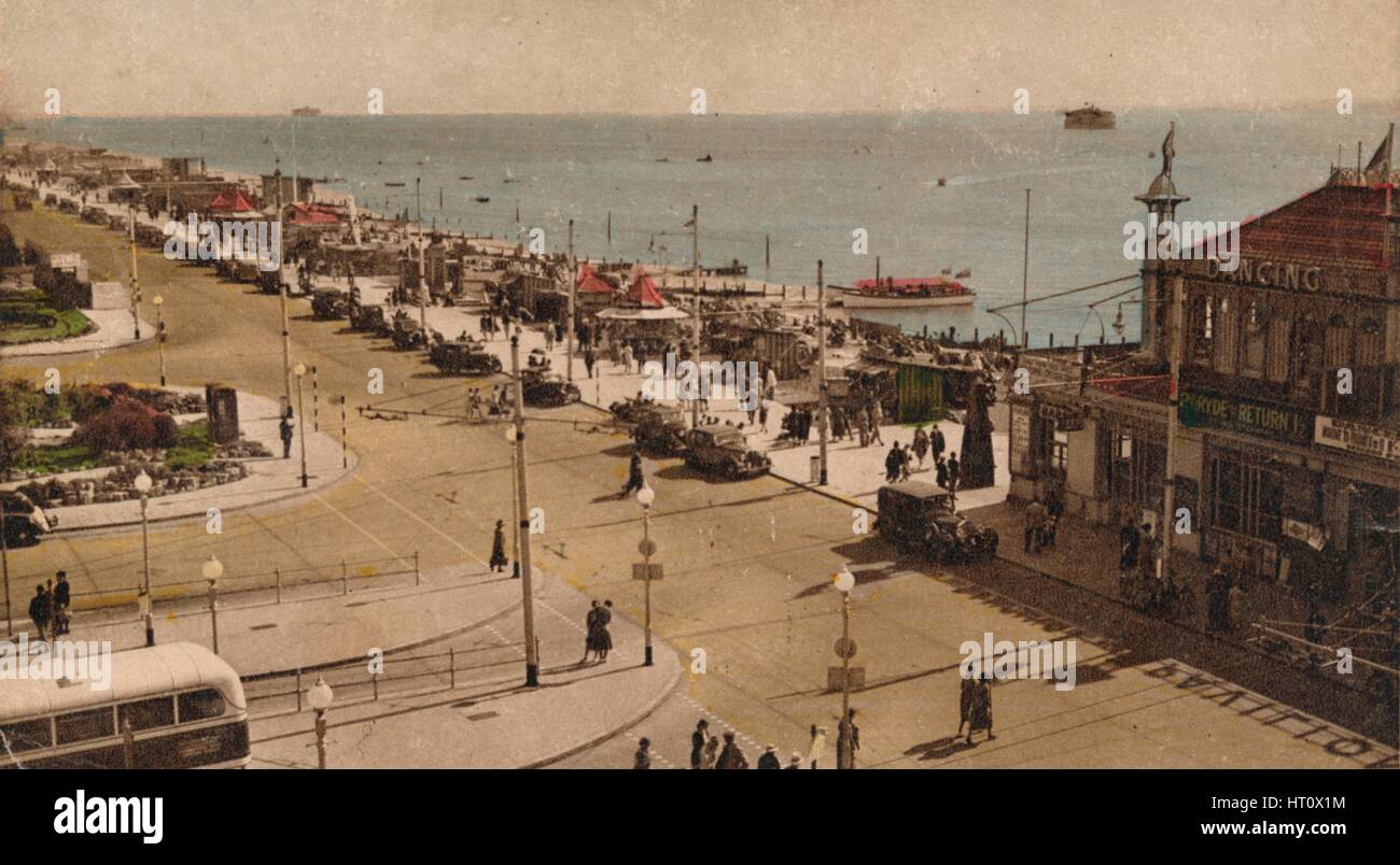Clarence Esplanade and Pier, Southsea, Hampshire, c1930s. Artist: Unknown. Stock Photo