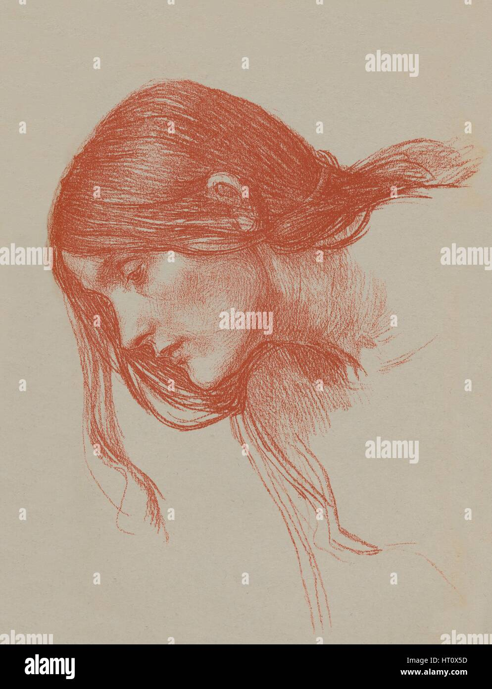 'Phyllis and Demophoon Study', c1897. Artist: John William Waterhouse. - Stock Image