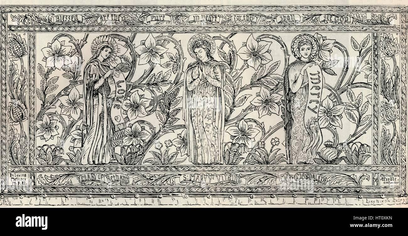 'White Memorial Altar Cloth, Parish Church, Cheddleton', c1891. Artist: Gerald Callcott Horsley. - Stock Image