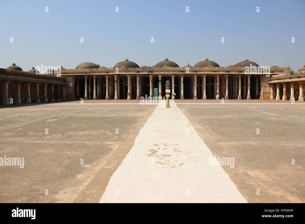 Mosque in the Campus of Sarkhej Roza with pillars and domes, Sarkhej Roza, Ahmedabad, Gujarat India - Stock Image