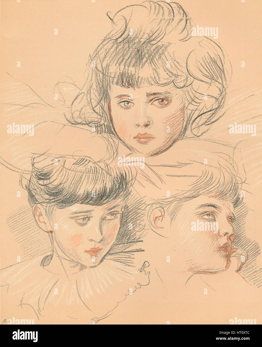 A sketch for a portrait of children, c1897. Artist: Paul Helleu. - Stock Image