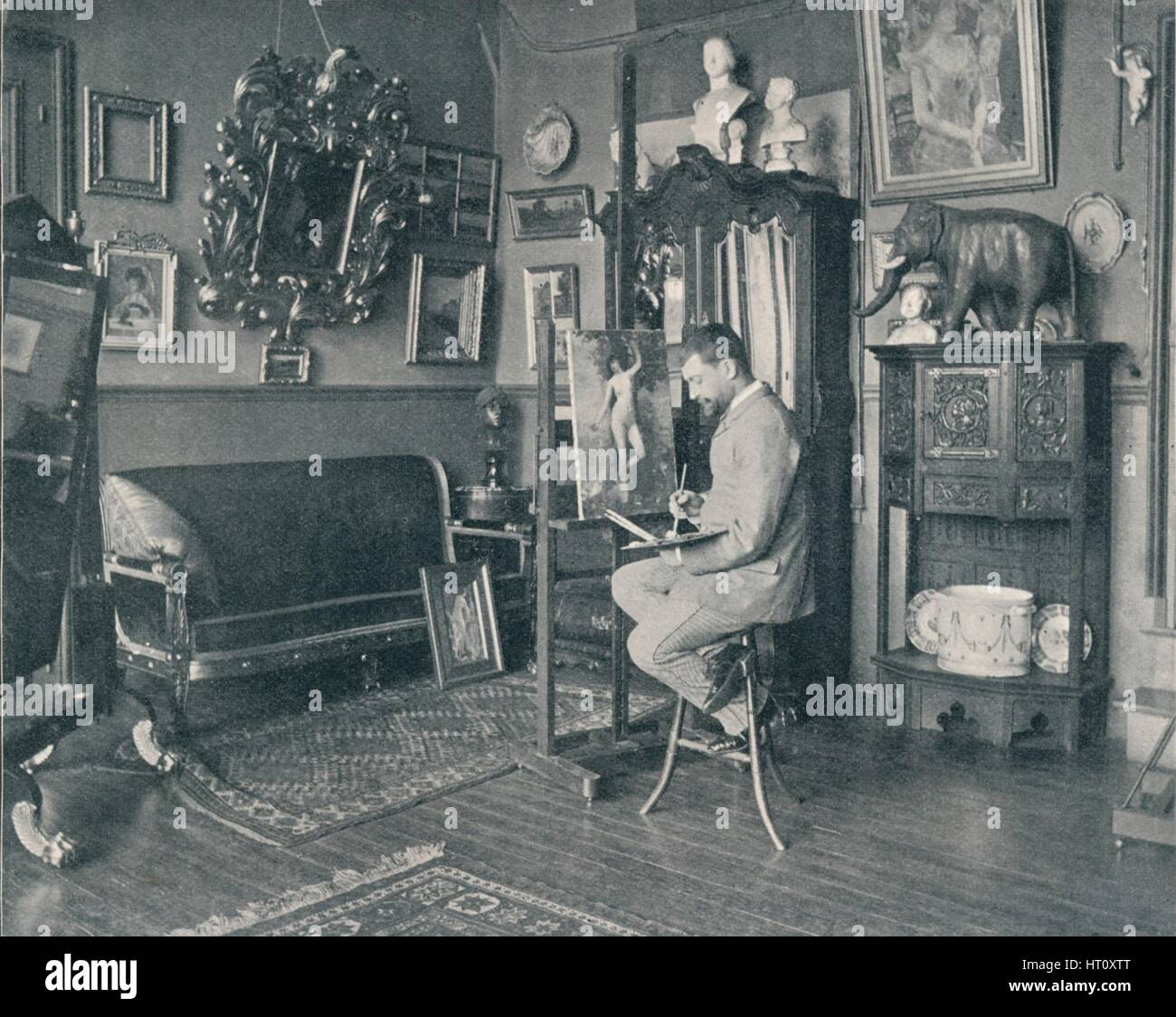 'Henri Gervex in his Studio', c1897. Artist: Unknown. - Stock Image