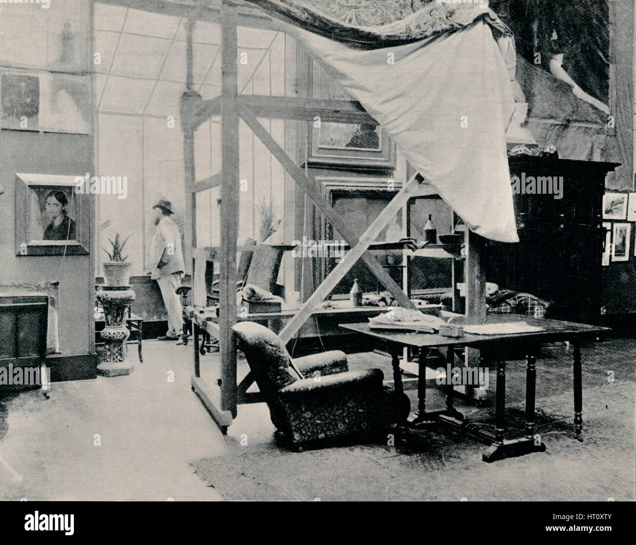 'A. Besnard in his Studio', c1897. Artist: Unknown. - Stock Image