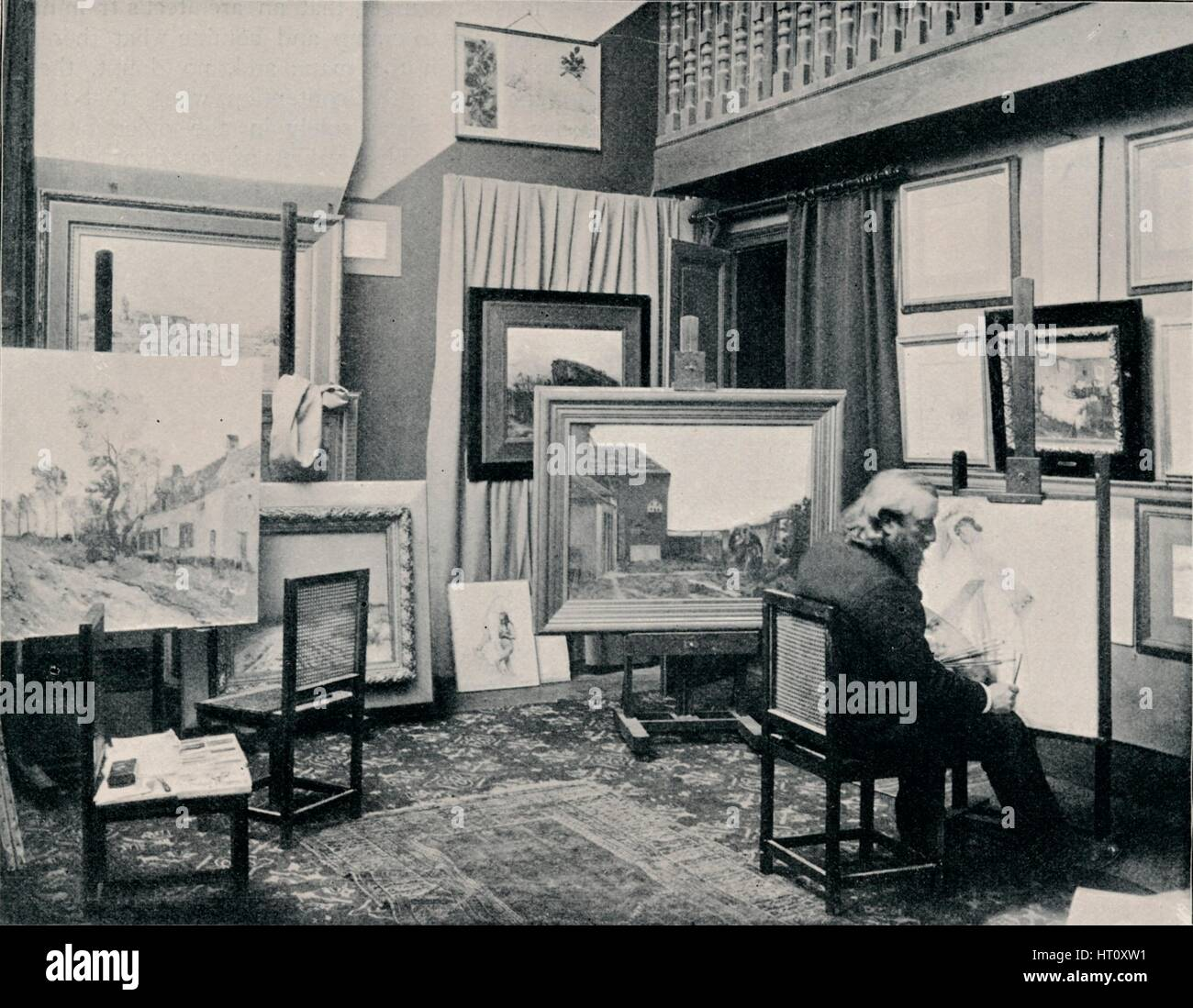 'C. Cazin in his Studio', c1897. Artist: Unknown. - Stock Image