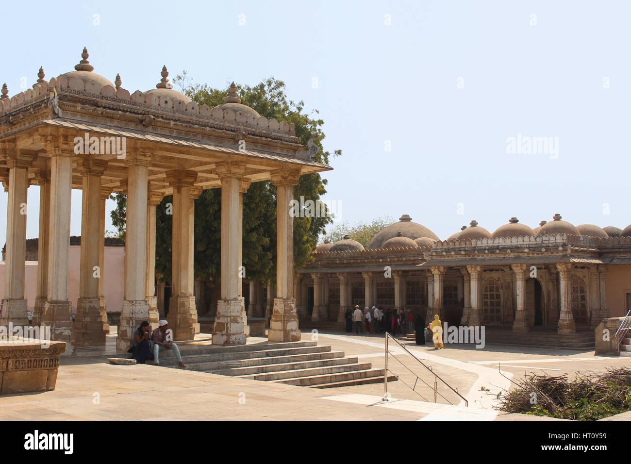 View of Bardari and the east mausoleum. Sarkhej Roza, Ahmedabad, Gujarat India. Contains the tombs of Mahmud Begada, - Stock Image