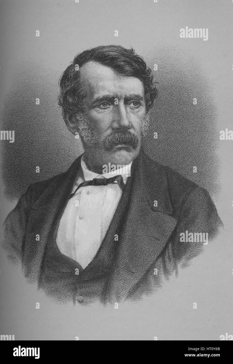 David Livingstone, Scottish missionary and African explorer, 1860s (1883). Artist: Unknown. - Stock Image