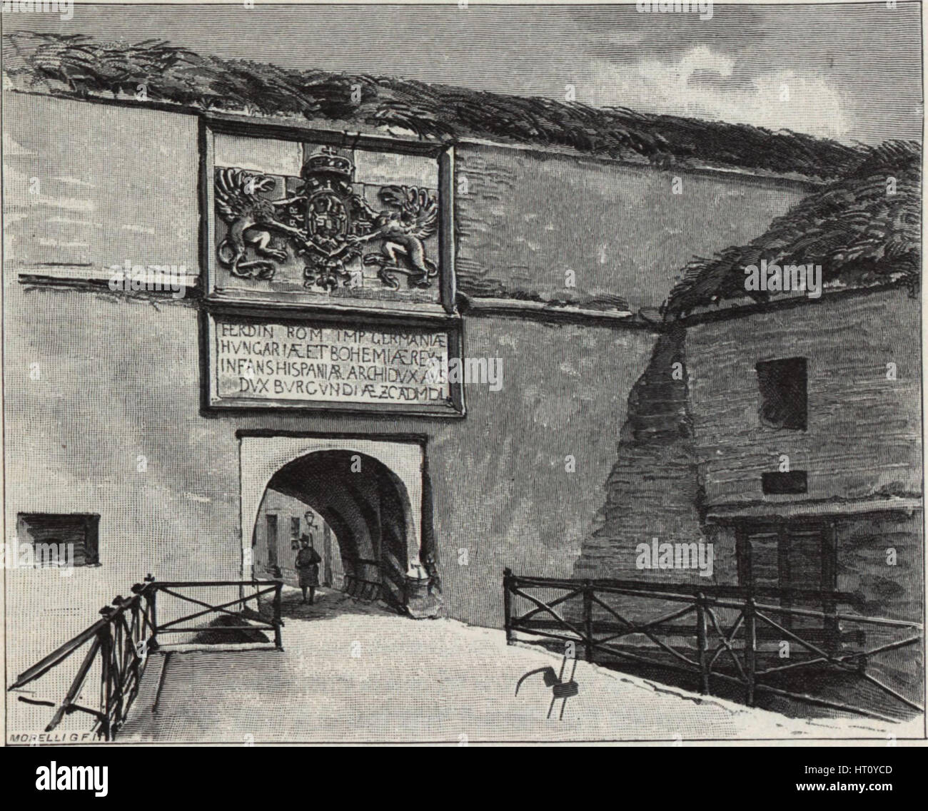 The Gate of the Old Fortress in Komárno, 1890s. Artist: Háry, Gyula (Julius) (1864-1946) - Stock Image