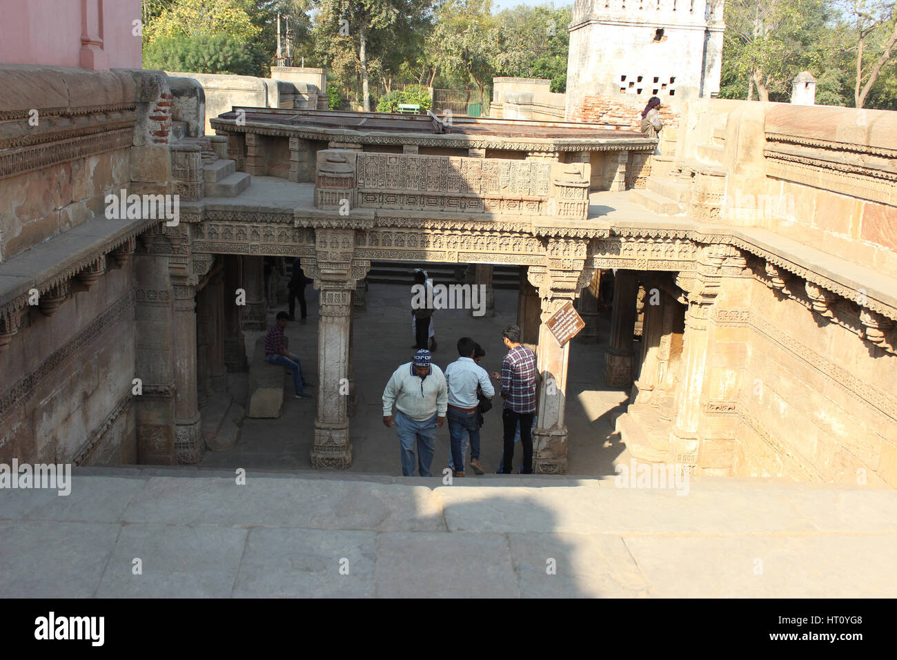 Western entrance from top. Adalaj Stepwell, Ahmedabad, Gujarat, India. The stepwell was built in 1498 by king Mohammed - Stock Image