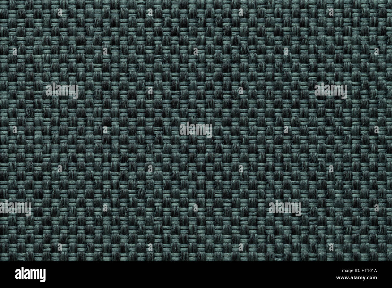 Dark Green Background With Checkered Pattern Closeup Structure Of The Fabric Macro