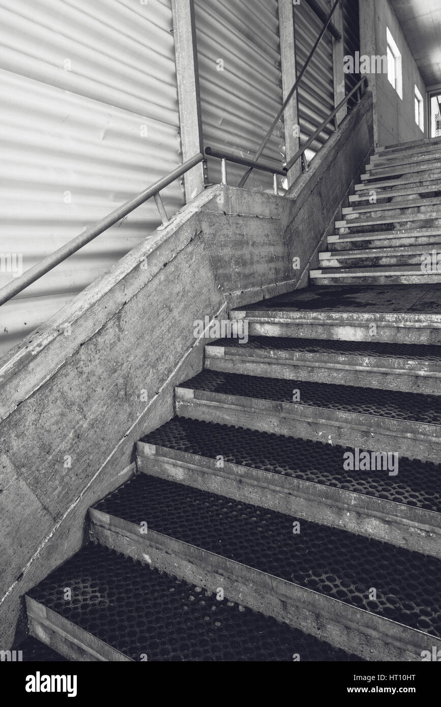 Industrial Warehouse Concrete Staircase, Black And White Monochromatic Wide  Angle Lens Image