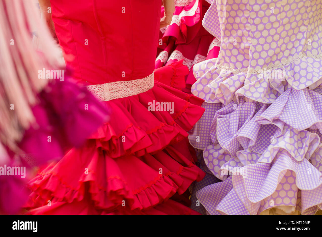 red woman flamenco clothes texture - Stock Image