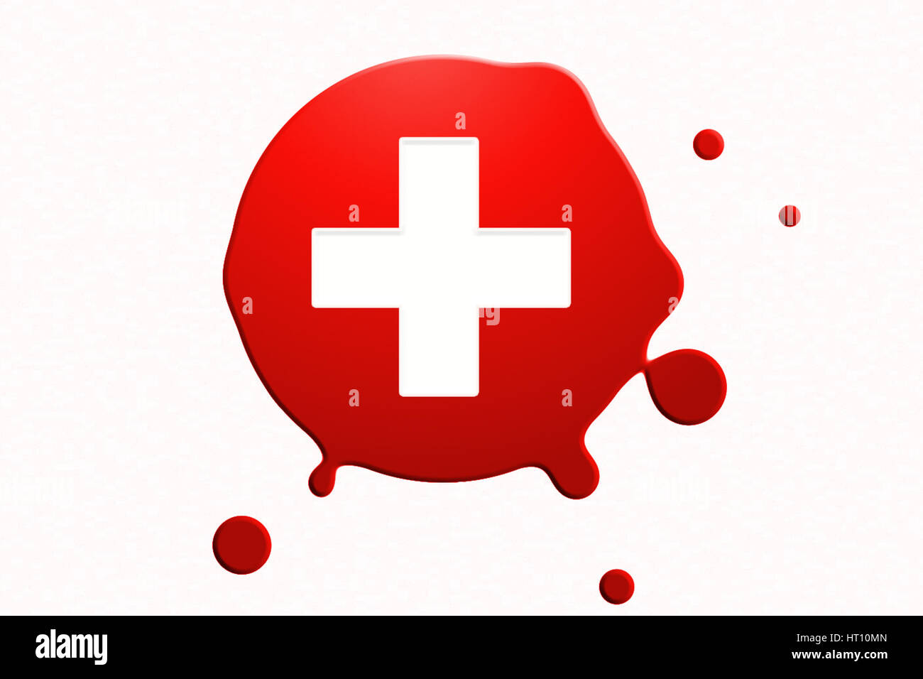 blood drop with white cross - Stock Image