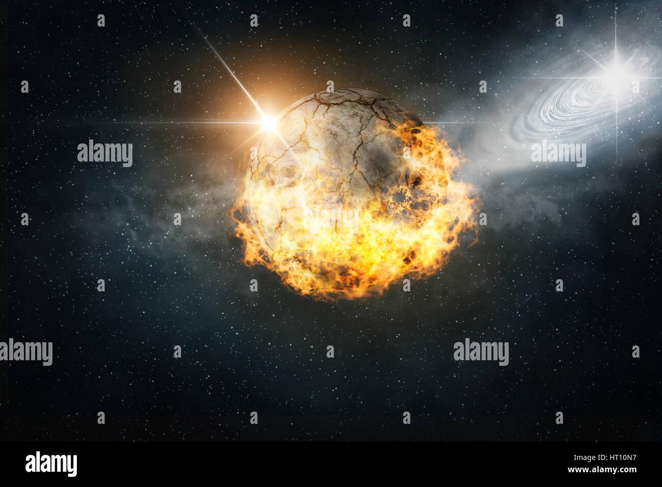 burning planet - Stock Image