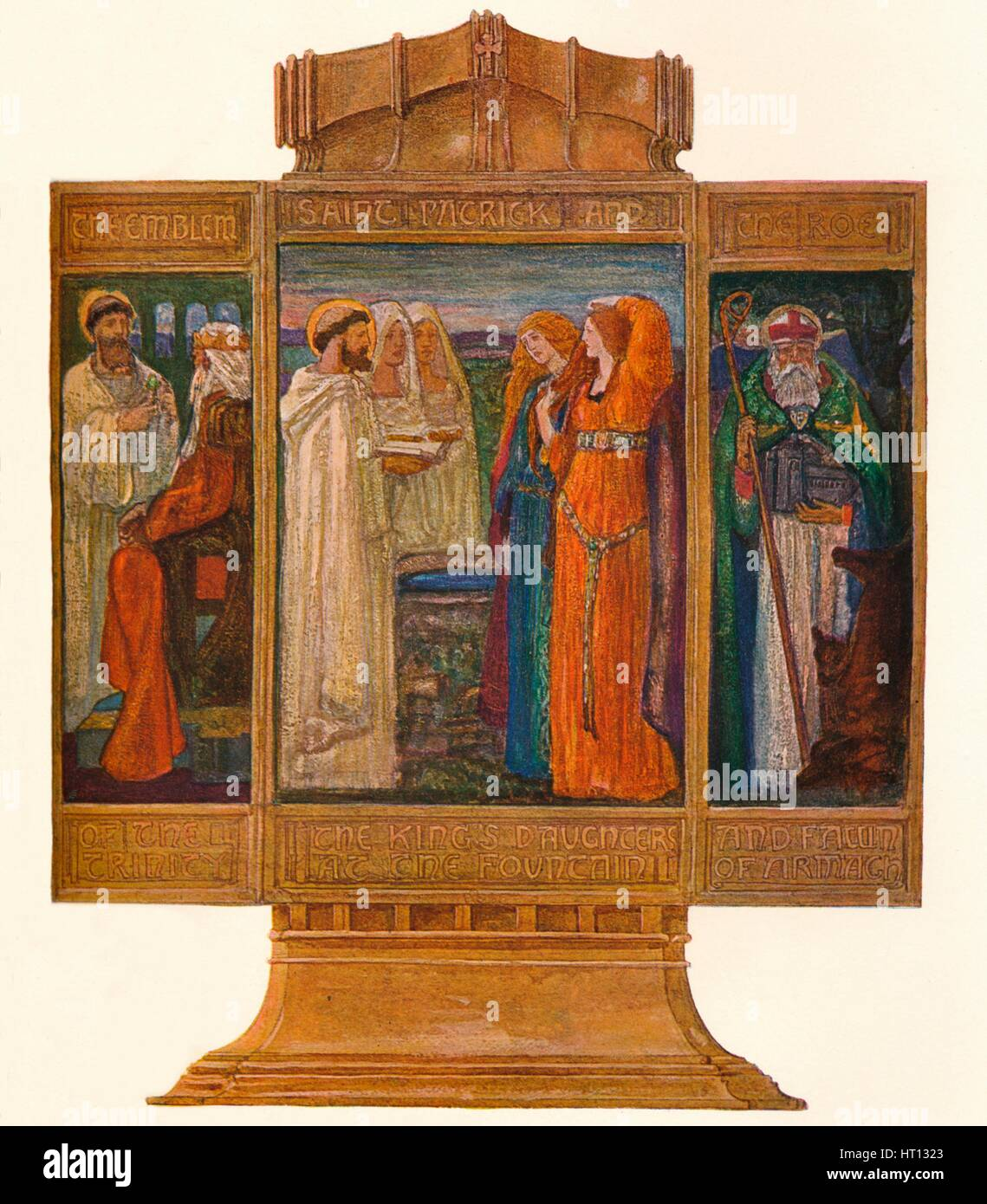 Triptych in Painted enamels: Scenes from the life of St. Patrick, 1903. Artist: Alexander Fisher - Stock Image