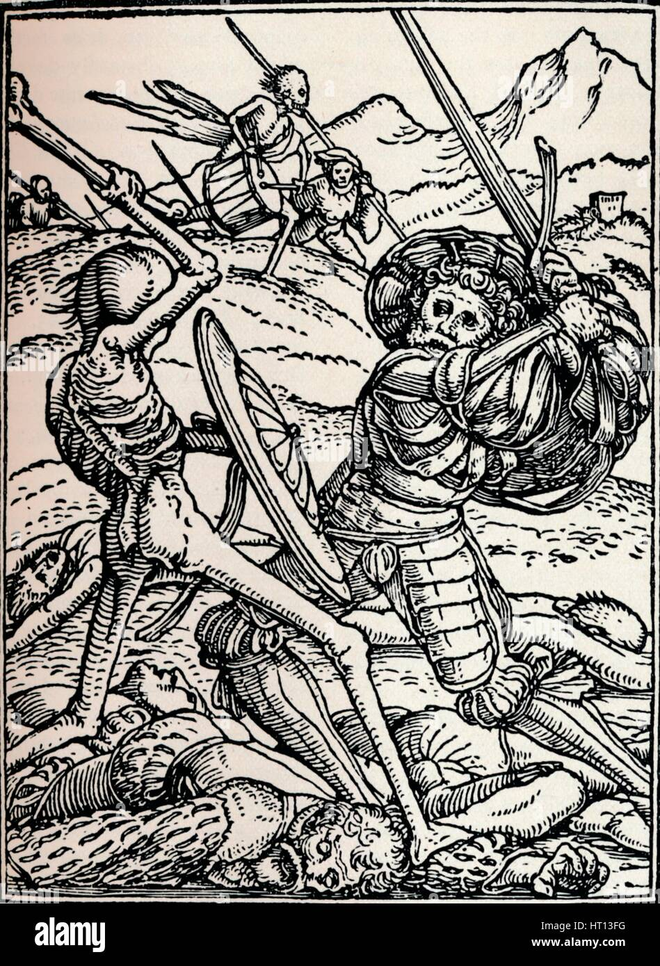 The Knight and Death, 1538, (1917). Artist: Hans Holbein the Younger - Stock Image