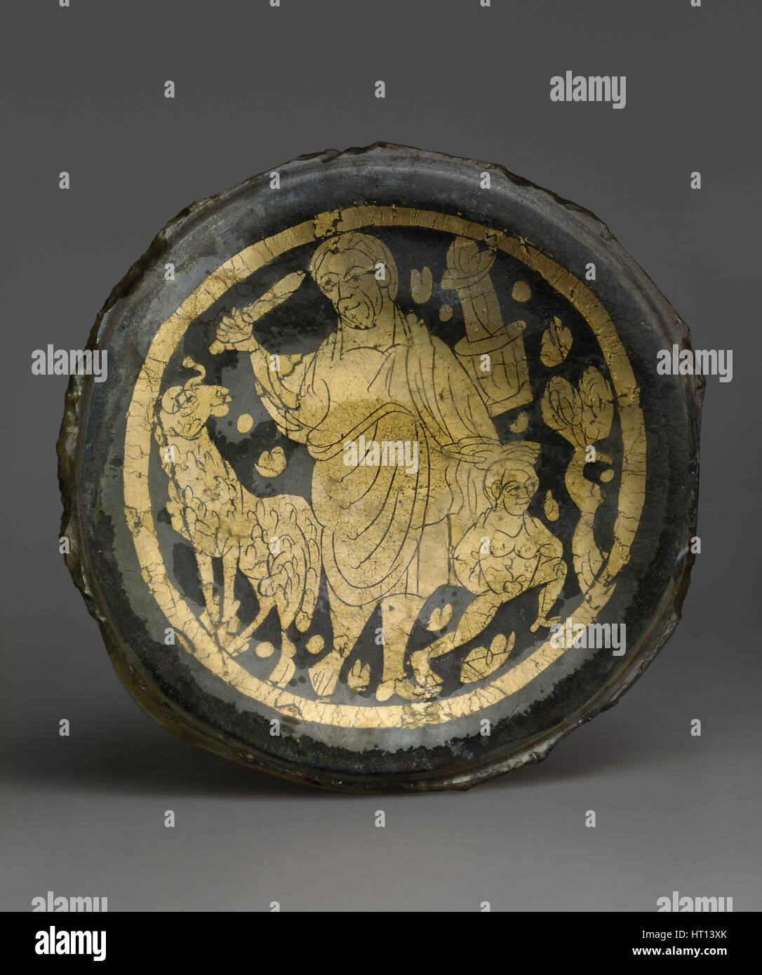 Bottom of a Vessel with Scene of the Sacrifice of Isaac, 4th century. Artist: West European Applied Art - Stock Image