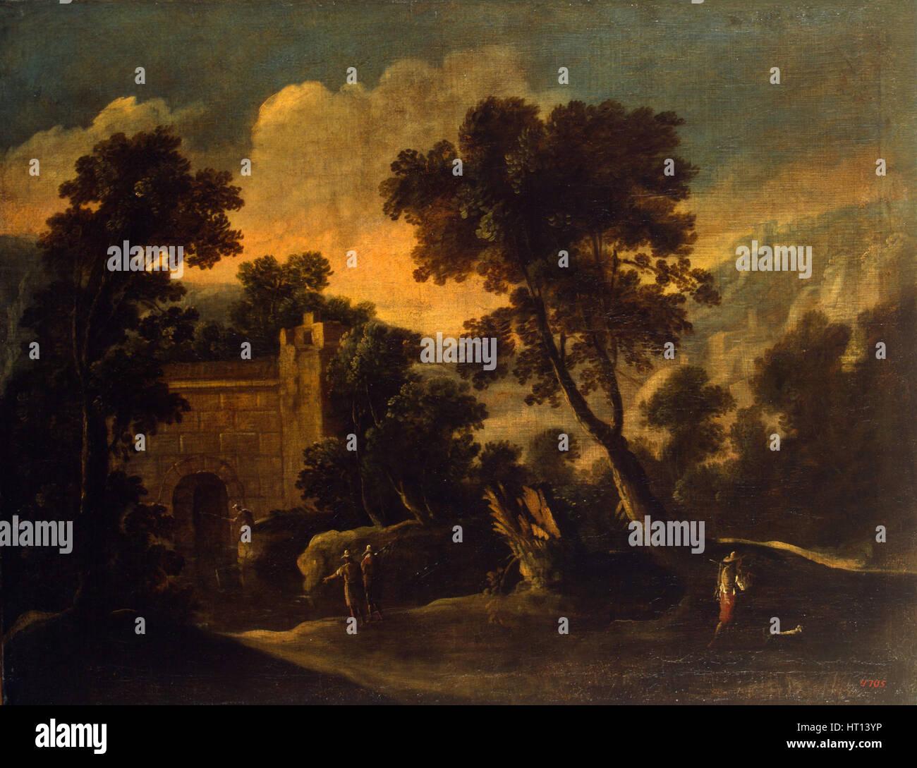 Landscape with Ruins, ca 1634. Artist: Collantes, Francisco (1599-1656) - Stock Image