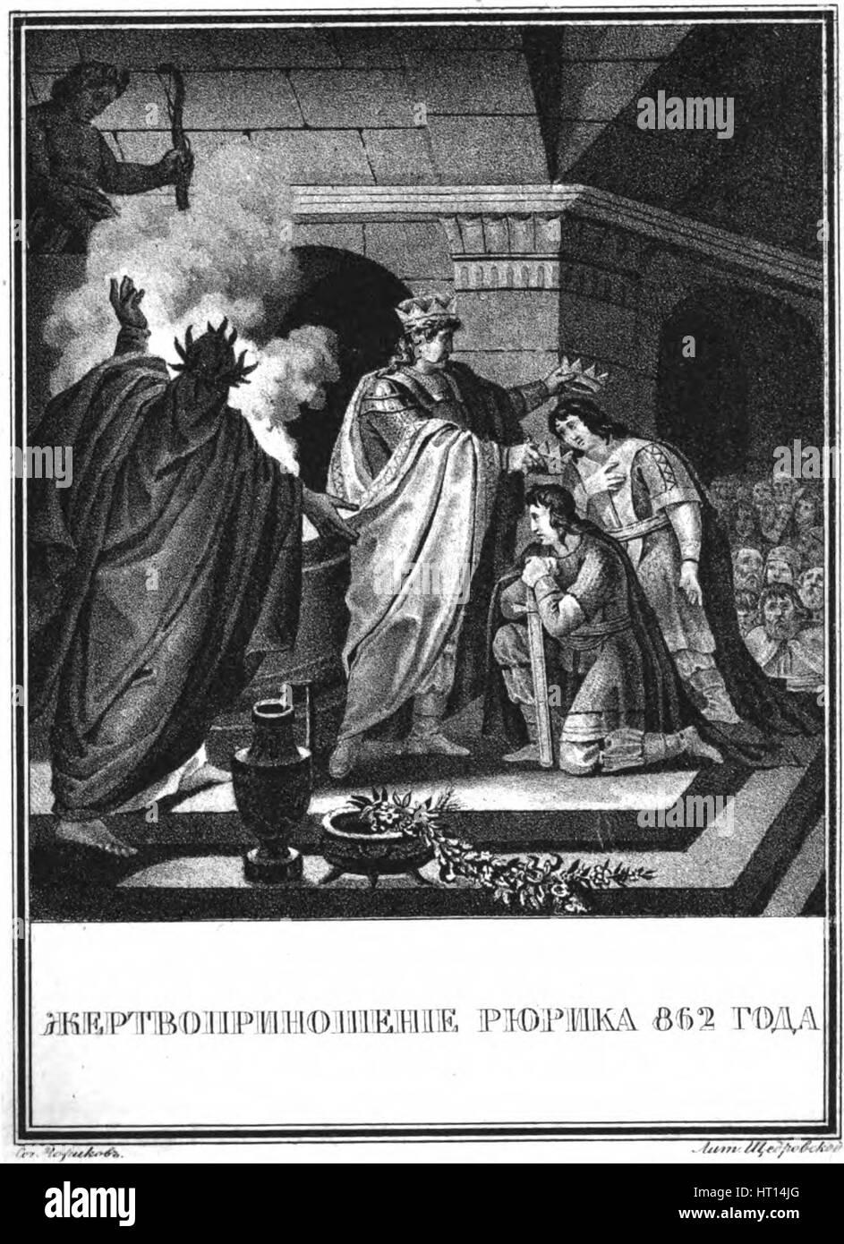 Prince Rurik's sacrifice. 862 (From Illustrated Karamzin), 1836. Artist: Chorikov, Boris Artemyevich (1802-1866) - Stock Image